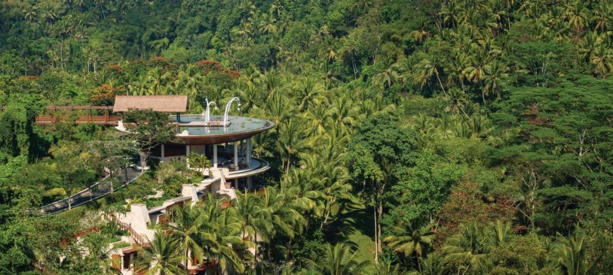 Das Hauptgebäude liegt versteckt inmitten des dichten Dschungels