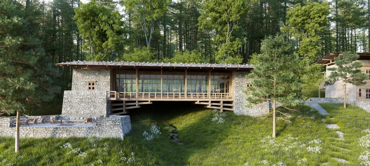 Die Gangtey Lodge als traditionelle Vogelbeobachtungsbrücke