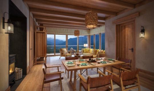 Wohnraum der Villa mit rustikalem Ambiente