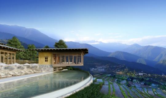Die Punakha Lodge in traumhaft schöner Kulisse