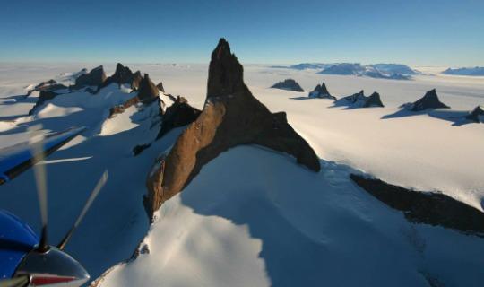 Die bizarre Landschaft der Drygalski Berge